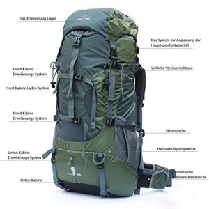 Wasserdichter Rucksack mit Wanderrucksack Fassungsvermögen aus strapazierfähigem Nylon mit Regenschutzhülle. Großer Trekkingrucksack, perfekt zum Wandern, Bergsteigen, Reisen und für Sport und Camping - 3